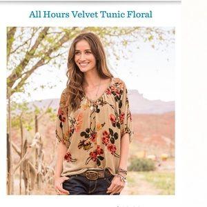 Sundance All Hours Velvet Peasant Tunic Floral Top